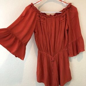 TOPSHOP Romper Sz Small Orange Bell Sleeves Stretc